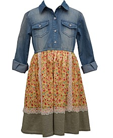 Little Girl Long Sleeved Washed Denim Dress With Pebble Crepe Lace Trimmed Skirt