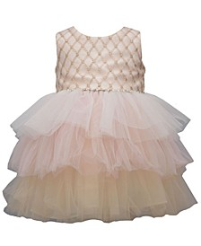 Little Girl Sleeveless Embroidered Bodice Party Dress With Multi Colored Tiered Mesh Skirt