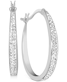 Crystal Tapered Hoop Earrings in Fine Silver-Plate, 1.2""