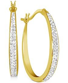 Crystal Oval Hoop Earrings in Gold-Plate