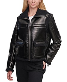 Faux-Leather Sherpa-Trim Jacket