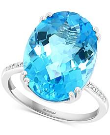 EFFY® Blue Topaz (13-7/8 ct. t.w.) & Diamond (1/20 ct. t.w.) Ring in 14k White Gold