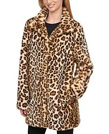 Faux-Fur Cheetah Print Coat