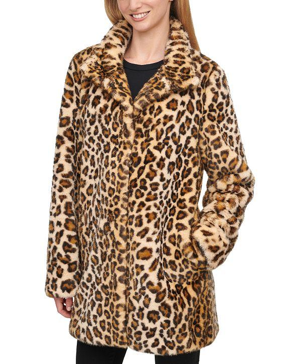 Calvin Klein Faux-Fur Cheetah Print Coat