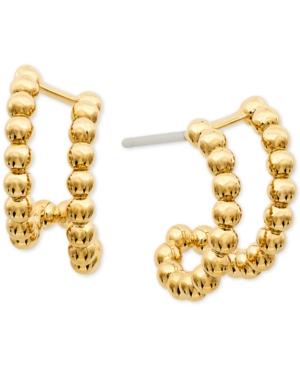 Bead Double-Row Open Hoop Earrings