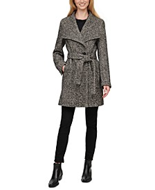 Petite Asymmetrical Belted Wrap Coat, Created for Macy's