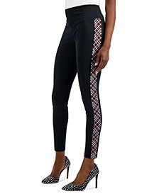 INC Plaid-Trim Ponte Skinny Pants, Created for Macy's