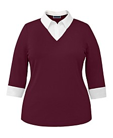 Petite Cotton Layered-Look Top, Created for Macy's