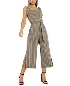 Tie-Waist Stripe Jumpsuit