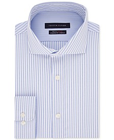 Men's Fitted Non-Iron TH Flex Performance Stretch Stripe Dress Shirt