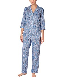 3/4 Sleeve Sateen Pajama Set