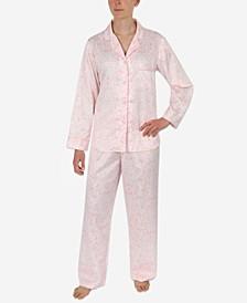 Petite 2-Pc. Printed Notch-Collar Pajama Set