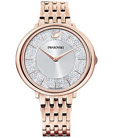 Women's Swiss Crystalline Chic Rose Gold-Tone Stainless Steel PVD Bracelet Watch 35mm