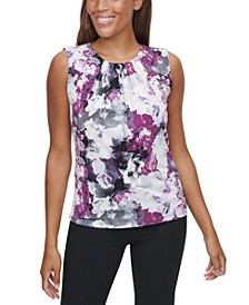 Printed Pleated-Neck Tank