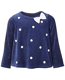 Baby Girls Dot Velour Top, Created for Macy's