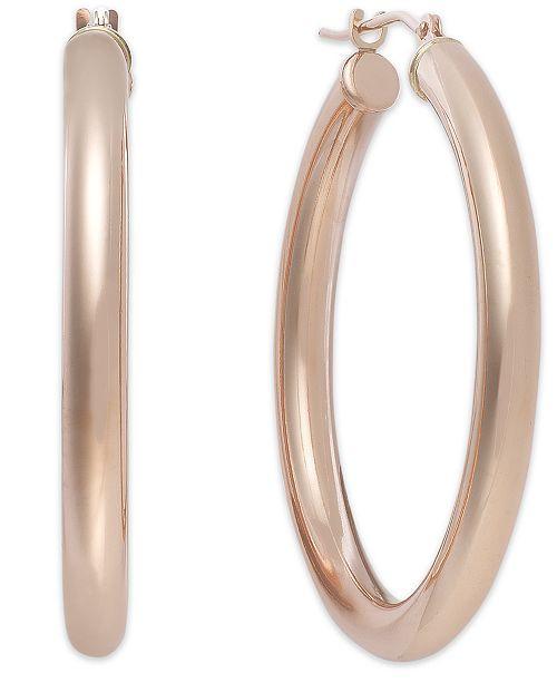 Italian Gold Polished Hoop Earrings in 14k Rose Gold.