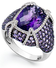 Amethyst (8-1/2 c.t. t.w) &  White Topaz (1/2 ct. t.w.) Ring in Sterling Silver
