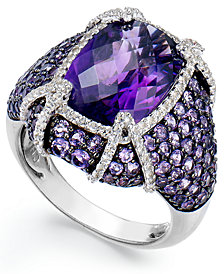 Sterling Silver Amethyst (9 ct. t.w.) and White Topaz (1/2 ct. t.w.) Ring