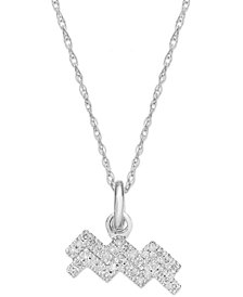 Diamond Aquarias Zodiac Pendant Necklace in 10k White Gold (1/10 ct. t.w.)