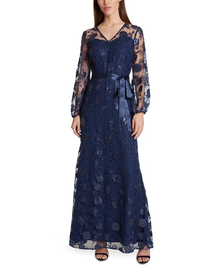 Tahari ASL - V-Neck Peasant-Sleeve Gown