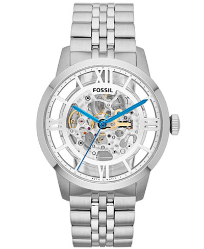 fossil men s automatic townsman stainless steel bracelet watch fossil men s automatic townsman stainless steel bracelet watch 44mm me3044