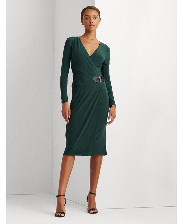 Lauren Ralph Lauren Buckled Jersey Dress