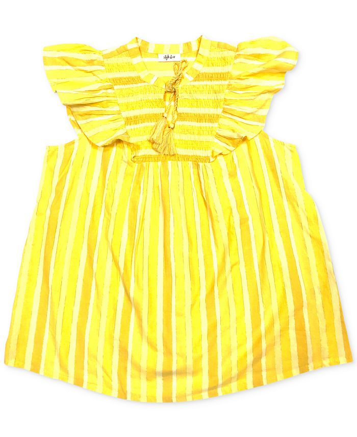 Style & Co - Plus Size Striped Smocked Cotton Top
