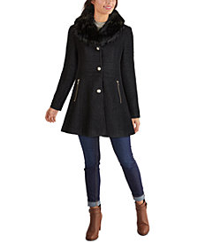 GUESS Faux-Fur-Collar Skirted Coat, Created for Macy's