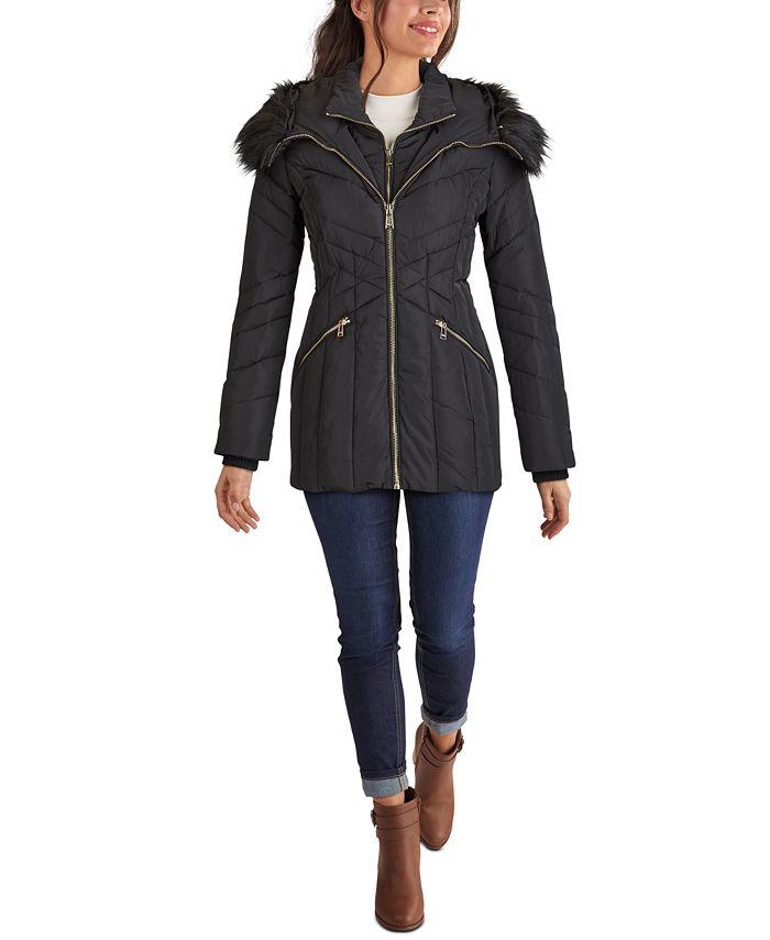 GUESS - Faux-Fur Trim Hooded Puffer Coat