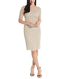 Beaded Floral Sheath Dress