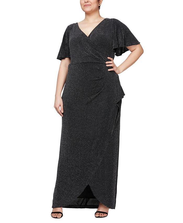 Alex Evenings - Plus Size Metallic-Knit Gown