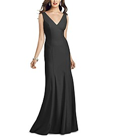 V-Neck Open-Back Gown