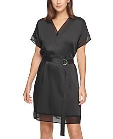 Mixed-Media Belted Sheath Dress
