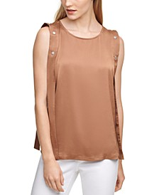 Solid Snap Overlay Sleeveless Top