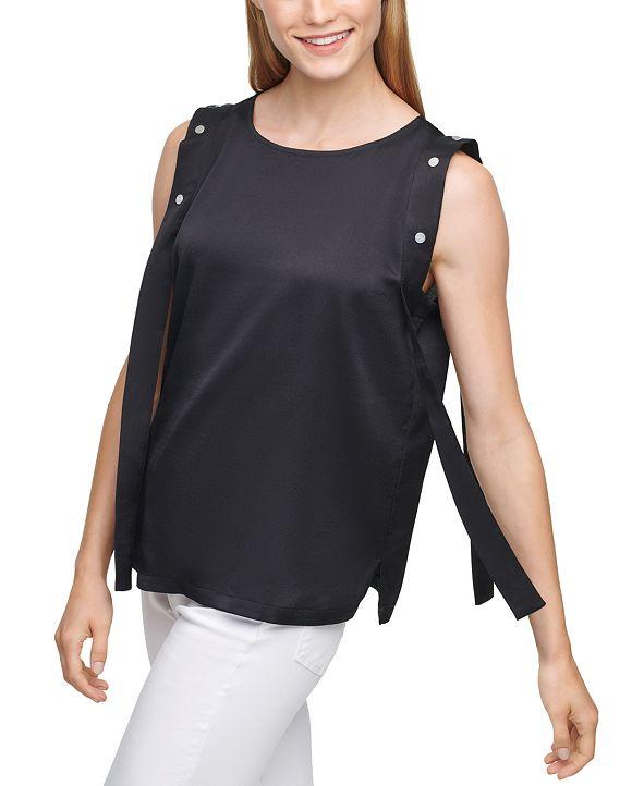 DKNY Solid Snap Overlay Sleeveless Top