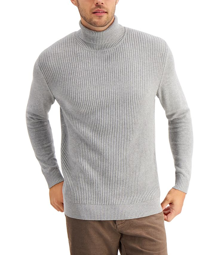 Club Room - Men's Textured Cotton Turtleneck Sweater