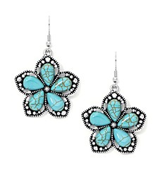 Simulated Turquoise Fine Silver Plated Flower Wire Earrings