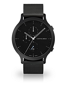 All Black Chronograph with Black-Tone Stainless Steel Mesh Bracelet Watch, 42mm