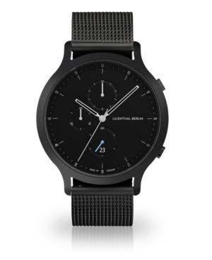 All Black Chronograph with Black-Tone Stainless Steel Mesh Bracelet Watch