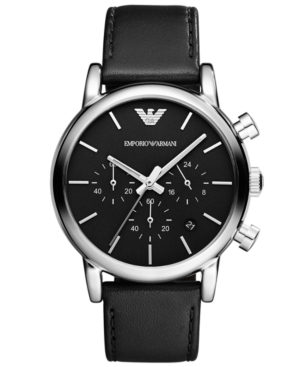 Emporio Armani Men's Chronograph Black Leather Strap Watch 41mm AR1733