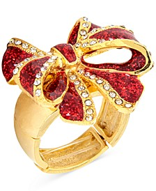 Gold-Tone Pavé & Glitter Red Tied-Bow Statement Stretch Ring, Created for Macy's