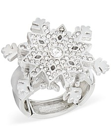 Silver-Tone Crystal Snowflake Statement Stretch Ring, Created for Macy's