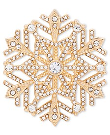 Gold-Tone Crystal Snowflake Pin, Created for Macy's
