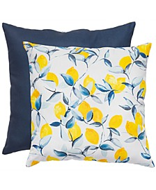 "Lemon Print & Solid 20"" x 20"" Outdoor Decorative Pillow 2-Pack"