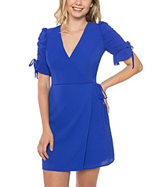 Juniors' Ruched-Sleeve A-Line Dress