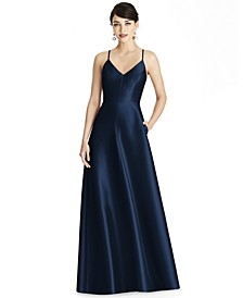 Crisscross Satin Gown