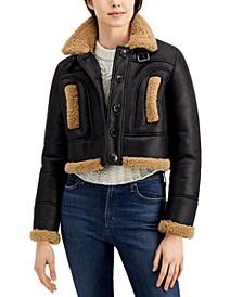 Patty Draped Faux-Fur Trim Coat