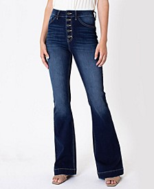 Women's High Rise Button-Fly Flare Jeans
