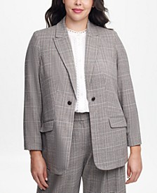Plus Size Plaid One-Button Blazer