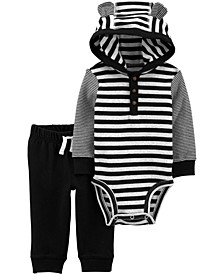 Baby Boy  2-Piece Striped Hooded Bodysuit Pant Set